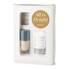 All is Bright winter gift set is available now for a limited time or until supplies last! 4 full mani/pedis, nail lacquer and lotion for your purse---all for less than one trip to the salon!!  TheRealToniHarris.JamberryNails.com/shop