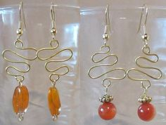 Gold Abstract Squiggle & Bead Dangle Earrings by Pizzelwaddels
