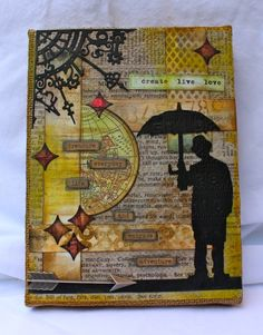 Altered Burlap Panel - Marjie Kemper