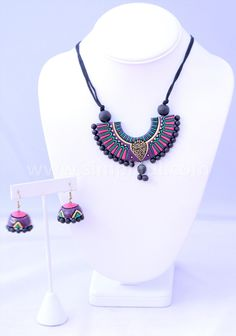 Terracotta Half Circle Geometric Necklace and Earring set | Simpliful
