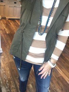 #militaryjacket + #stripes and #boyrfriend jeans aare my go-tos! and this Capecod necklace goes with almost everything!  #pdstyle #pdjewelry #kellysstylecenter #sparkle #bling #premierjewelry #momboss #workingmom  #workfromhome #selfemployed #freejewelry  #fashion #momlife #jewelry  #ontrend  #styleshow  #accessorystylist  #kjoutfitoftheday  #highfashionjewelry  #khallthingsbeYOUtiful #dreamjob  #premiereveryday #accessorystylist