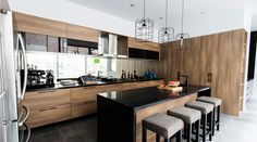 Layout & Design | Wood Cabinet | Granite Counter | Glass Backsplash.