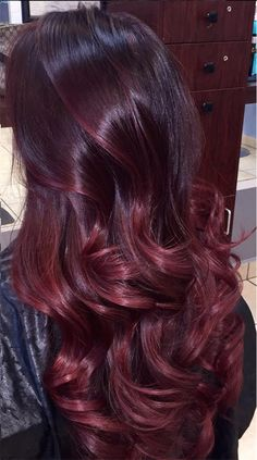 Dark Red Velvet - 50 Shades of Burgundy Hair Color: Dark, Maroon, Red Wine, Red Violet - The Trending Hairstyle Pelo Color Vino, Pelo Color Borgoña, Wine Hair, Hair Color Shades, Deep Burgandy Hair Color, Indian Hair Color, Hair Colour, Dark Red Hair, Dark Cherry Hair