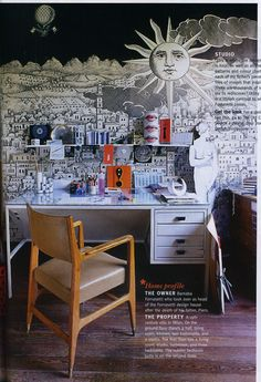 Stunning wall mural by Fornasetti in Barnaba Fornasetti's office, Elle Decor UK.