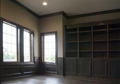 Trim | Photo Gallery | 3 Pillar Homes #Central #Ohio #Custom #Home #Builder #Interior #Design #Dream #Home #Dark #Stained #Built #In #Shelving #Study #Office #Tuscan #Tuscana #Tartan #West