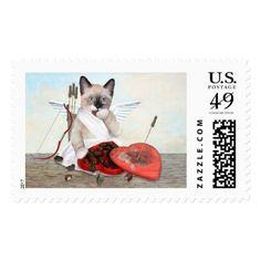 Cupid Kitten Postage Stamp - Saint Valentine's Day gift idea couple love girlfriend boyfriend design