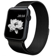 top4cus Apple Watch Band 38mm Double Plating Milanese Fully Magnetic Closure Clasp Mesh Loop Stainless Steel iWatch Band Replacement Bracelet Strap for Apple Watch 38mm Model Black * See this great product.