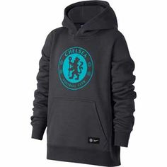 bd31f7e4c Nike Youth Chelsea Crest Hoodie - Anthracite & Omega Blue |  SoccerMaster.com Chelsea