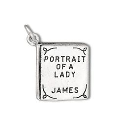 SALE Portrait of a Lady Book Charm Pendant Sterling Silver Marked 30% off Regular Price