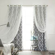 Aurora Home MIX and Match Curtains Muji Sheer Moroccan 84-inch 4-piece Curtain Panel Pair (