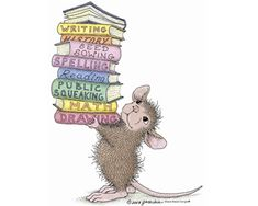 "Mousie balancing pile of books ""Muzzy"" from House-Mouse Designs® House Illustration, Illustrations, House Mouse Stamps, Mouse Pictures, Mouse Color, Moise, Cute Mouse, House Drawing, Penny Black"