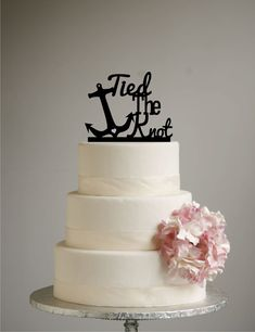 Tied the Knot with Anchor Wedding Cake Topper Acrylic - Modern Cake Topper by Sugar Bee Etching (beach wedding, destination wedding)