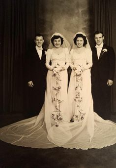 """""""My great grandparents (on the right) on their wedding day March My great grandfather's twin brother married my great grandmother's cousin. Beautiful Wedding Gowns, Black Wedding Dresses, Boho Wedding Dress, Wedding Bride, Wedding Shot, Wedding Couples, Vintage Couples, Chic Vintage Brides, Vintage Gowns"""