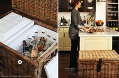 I like this idea: Hide styrofoam coolers inside an IKEA basket. Fun for parties / BBQs.