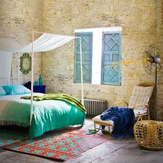 Emerald green and stripped brickwork bedroom | Bedroom decorating | Livingetc | Housetohome
