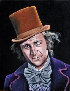 Dang! I love this so much!!! black velvet painting Gene Wilder as Willy Wonka