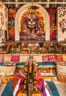 Recipes From Vidanta Los Cabos Resort's Casa Calavera – Cowboys and Indians Magazine Mexican Restaurant Design, Restaurant Bar, Back Bar Design, Mexican Wall Art, Tequila Bar, Mexican Designs, Luxury Decor, Salon Design, Rockwell Group