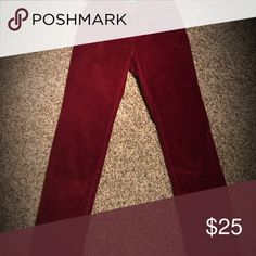 NEW CORDUROY MID-RISE, SKINNY STRETCH JEAN Perfect, never worn, maroon corduroy mid-rise skinny stretch jeans! Soft, shaping, yet the elasticity makes it easy to move in. Size 2 or 26 and length is 30. Wine red. Buffalo David Bitton Jeans Skinny