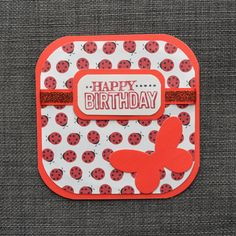Red Birthday Card Handmade Card Hand by CraftyCarolynsCards