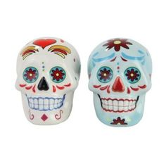 Day of Dead Sugar White & Blue Skulls Salt & Pepper Shakers Set- Skulls Collection Pacific Giftware. Sugar skulls have become very chic for some reason. Day Of The Dead Skull, Inked Shop, Skull Decor, Salt And Pepper Set, Salt Pepper Shakers, Blue And White, Stuffed Peppers, Ceramics, Ebay