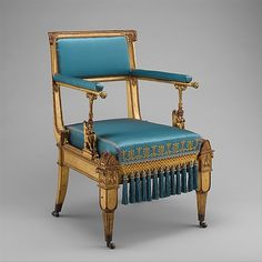 Armchair by Karl Friedrich Schinkel, ca. Now in the Metropolitan Museum. Antique Chairs, Antique Furniture, Chair Design, Furniture Design, Throne Chair, Empire Style, Maker, Take A Seat, Classic Furniture