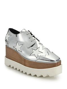 STELLA MCCARTNEY Wood & Rubber-Platform Metallic Star Oxfords - $1080 | House of Beccaria~