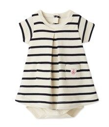 Baby girl 2 in 1 sailor-striped bodysuit dress Coquille beige / Abysse blue - Petit Bateau