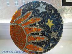 Mosaic Stained Glass Sun and Stars Wall Art by earthmothermosaics, $52.30