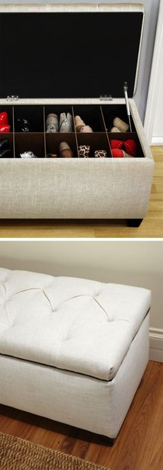 Upholstered Shoe Storage Ottoman // keeps your shoes and purses out of sight #product_design #organization