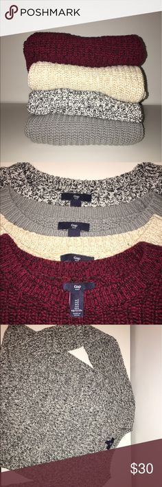 SET of 4 gap sweaters 4 gently used gap sweaters. All size small, but fit like an xs. Willing to sell separate as well. Open to offers! :) GAP Sweaters Crew & Scoop Necks
