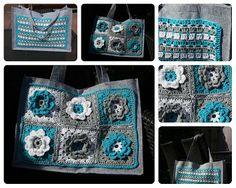Linn Creatief: Bloem-Granny's op mijn tas.