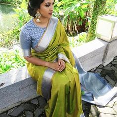Buy Green Colored Silk Fabric Designer Wear Beautiful Saree With Designer Blouse - South Indian Wedding Saree, Saree Wedding, South Indian Sarees, Indian Bridal, South Indian Weddings, Bridal Lehenga, Silk Saree Blouse Designs, Saree Blouse Patterns, South Indian Blouse Designs