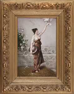 Fr. Zapf   Girl  with a parrot  porcelain plaque