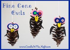 These adorable pine cone owls are so much fun to make with your kids!  | candleinthenight.com
