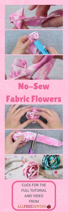 Sewing Fabric Flowers Simple 46 New Ideas Easy Fabric Flowers, Fabric Flower Tutorial, Burlap Flowers, Simple Flowers, Craft Flowers, Beautiful Flowers, Sewing Patterns For Kids, Easy Sewing Projects, Sewing Crafts