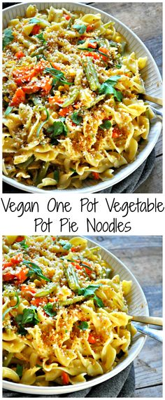 Vegan One Pot Vegetable Pot Pie Noodles - Rabbit and Wolves - Vegan recipes - Vegetarian Recipes Whole Food Recipes, Dinner Recipes, Cooking Recipes, Healthy Recipes, Skillet Recipes, Cooking Gadgets, Restaurant Recipes, Cooking Ham, Fast Recipes