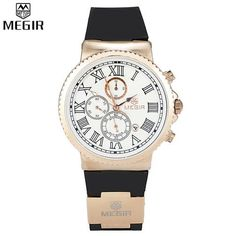 MEGIR Chronograph 24 Hours Function Sport Silicone Gold Luxury Men Top Brand Military Watch