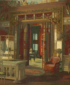640 Fifth Ave, William H. Vanderbilt Residence, c.1882.  NORTH-WEST CORNER OF DRAWING-ROOM With Portion of Galland's Fete