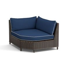 Torrey Sectional Wedge Corner Cushion Slipcover, Sunbrella(R) Contrast Piped, Cobalt