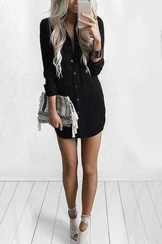 Black Front Button Long Sleeve Curved Hem Dress