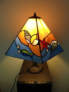 Summer lamp Stained glass lamp Bedside lamp Table lamp Desk lamp Sea Shell Waves Beach Fish 4 Panel lamp Handmade Sea glass art Ocean - ALL ABOUT Stained Glass Lamp Shades, Stained Glass Table Lamps, Stained Glass Projects, Stained Glass Patterns, Stained Glass Art, Lampe Art Deco, Art Deco Table Lamps, Sea Glass Art, Mosaic Glass