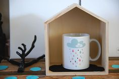 the Mug it rains happiness Pastel by Creabisontine on Etsy