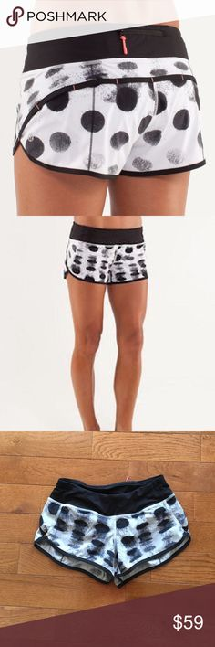 "🔥Lululemon Speed Shorts🔥 Lululemon Speed Shorts-HTF Seaside Poka Dot-Excellent Condition!! Back zip pocket, 2 front gel pockets, never ending drawstring at the waist, 2 1/2"" inseam. Check out my closet for tons of other lulu and Athleta items!! Bundle & save-🚫lowball offers lululemon athletica Shorts"