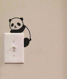 Cute Panda Light Switch Cute Vinyl Wall Decal by imprinteddecals