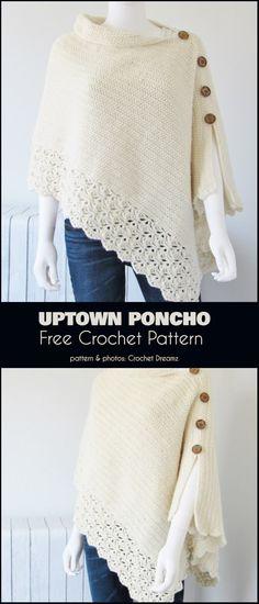 Crochet scarves 730779477015157851 - Uptown Poncho Free Crochet Pattern Source by nanepaule Poncho Au Crochet, Pull Crochet, Mode Crochet, Poncho Knitting Patterns, Crochet Scarves, Crochet Clothes, Crochet Stitches, Knit Crochet, Crochet Patterns