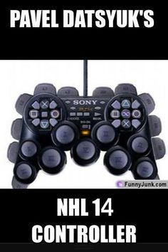 I play this game all the time and if you don't get it, all the controls are for all the moves he has. Go pavel! Hockey Memes, Hockey Shirts, Funny Hockey, Playstation, Red Wings Hockey, Detroit Sports, Hockey Season, Soccer World, Field Hockey