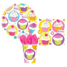 Perfect for Shopkins Theme Party. Cupcake Print Cups, Plates, Napkins