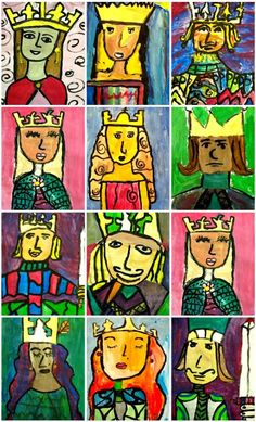 Deep Space Sparkle – Fairy Tale Kings and Queens Art Project Projeto de Artes: Reis e Rainhas Chateau Moyen Age, Arte Elemental, 2nd Grade Art, Fourth Grade, Deep Space Sparkle, Creation Art, Queen Art, King Queen, Ecole Art