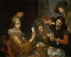 anoniem   The Card Game on the Cradle: Allegory, attributed to Johannes van Wijckersloot, 1643 - 1683   Het kaartspel op de wieg: allegorie. Aan weerszijden van een wieg waarin een volwassen man als zuigeling ligt spelen twee mannen een kaartspel. Op de voorgrond houdt een jonge man de hartenaas omhoog, achter de wieg een vrouw die het kind wiegt, de andere kaartspeler en een man met een zwaard. In de linkeronderhoek hurkt een man met een masker.