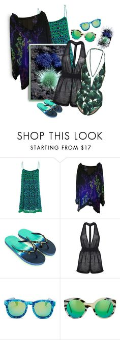 """Sea Urchin Mimicry♡Beach Wear I💙💚"" by tmcintyre ❤ liked on Polyvore featuring Roberto Cavalli, Accessorize, Kendall + Kylie, Wildfox, Illesteva and ADRIANA DEGREAS"